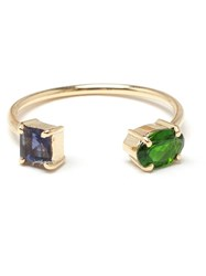 Ileana Makri 18K Yellow Gold Chrome Diopside And Lolite Ring Blue