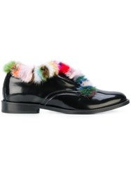 Joshua Sanders Fur Trimmed Loafers Leather Patent Leather Black
