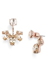 Marchesa Women's Marquise Crystal Ear Jackets Silk Rose Gold