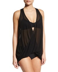 Luxe By Lisa Vogel Tough Love Sheer Tankini Swim Top Onyx