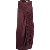 River Island Womens Dark Purple Ruched Front Sleeveless Dress