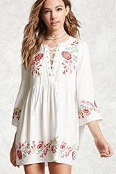 Forever 21 Embroidered Peasant Dress Cream Red