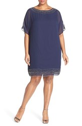 Xscape Evenings Plus Size Women's Xscape Embellished Split Sleeve Chiffon Shift Dress