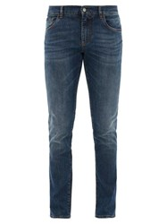 Dolce And Gabbana Crown D G Logo Embroidered Slim Leg Jeans Blue