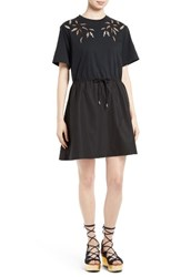 See By Chloe Women's Embroidered Cutout T Shirt Dress