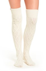 Ugg Cable Knit Over The Knee Socks Cream