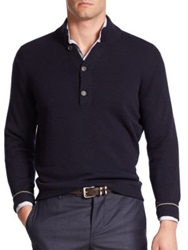 Brunello Cucinelli Splitneck Cashmere Sweater Light Grey Midnight Blue