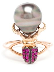 Daniela Villegas Ruby And Pearl Beetle Ring