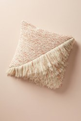 Anthropologie Fringed Waffleknit Pillow Pink