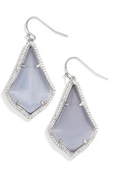 Kendra Scott Women's Alex Pave Drop Earrings Slate Cats Eye Silver