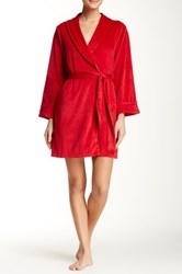Casual Moments Shawl Collar Velour Wrap Red