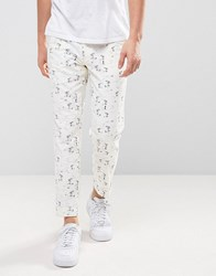 Asos Skinny Cropped Beach Print Lightweight Trousers White