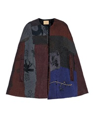 By Walid Vintage Patchwork Chinese Silk Fur Lined Cape