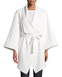 Neiman Marcus Luxury Double Faced Cashmere Wrap Coat Winter White