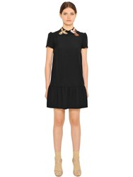 Red Valentino Bird Patches Crepe Envers Satin Dress