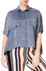 Elvi Plus Size Women's Studded Crop Chambray Shirt