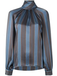 Yves Saint Laurent Vintage Striped Blouse Grey