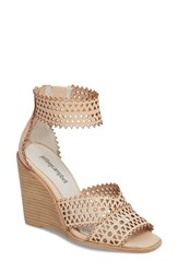 Jeffrey Campbell 'S Besante Perforated Wedge Sandal Natural Leather
