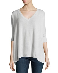 Minnie Rose Cashmere V Neck Dolman 3 4 Sleeve Sweater Gris Clair
