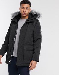 Hollister All Weather Faux Fur Lined Hooded Parka In Black