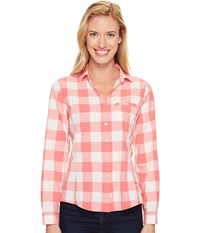 Woolrich Day Pack Convertible Shirt Teaberry Check Women's Long Sleeve Button Up