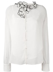 See By Chloe Flower Embellished Collar Shirt Nude Neutrals
