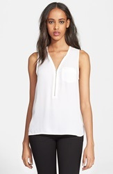 The Kooples Zip Front Silk Tank White