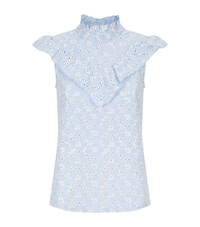 Set Broderie Anglaise Blouse Blue