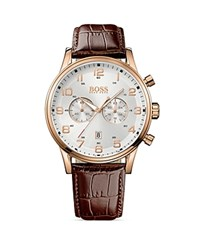 Boss Hugo Boss Aviator Ionic Rose Gold Plated Watch 44Mm Silver