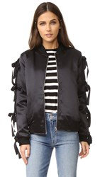 Endless Rose Patch Bomber Jacket With Ribbon Sleeves Black