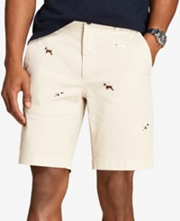 Brooks Brothers Men's Red Fleece Dog Embroidered Twill 9 Shorts Oatmeal