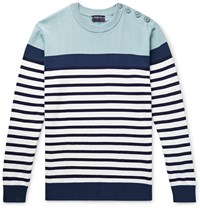 Armor Lux Button Embellished Striped Cotton Sweater Blue