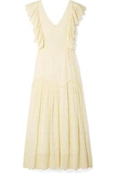 Loveshackfancy Cressida Ruffled Broderie Anglaise Cotton Maxi Dress Pastel Yellow