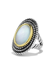 David Yurman Cable Coil Ring With Moon Quartz And Gold Silver Gold