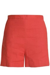 Theory Linen Blend Shorts Tomato Red
