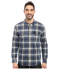 True Grit Summit Plaid Two Pocket Western Shirt With Chambray Denim Men's Clothing Blue