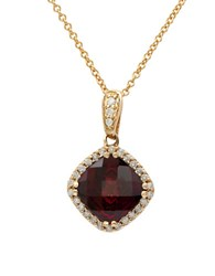 Effy Final Call Rhodolite Diamond And 14K Rose Gold Square Pendant Necklace