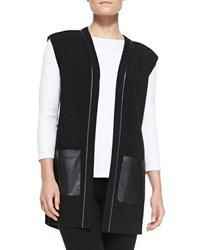 Lafayette 148 New York Faux Leather Trim Vest Women's