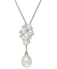 Arabella Cultured Freshwater Pearl 5 And 10Mm And Swarovski Zirconia Pendant Necklace In Sterling Silver Black