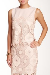 Endless Rose Madeleine Lace And Faux Leather Blouse Pink