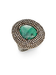 Bavna Emerald Champagne Diamond And Sterling Silver Statement Ring Silver Green