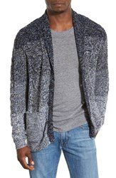 Men's Original Paperbacks 'Boston' Colorblock Mixed Knit Shawl Collar Cardigan Navy