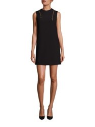 Versace Sleeveless Zipper Shift Dress Black