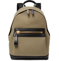 Tom Ford Cotton Canvas And Leather Backpack Green