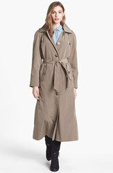 London Fog Petite Women's Long Trench Coat With Detachable Hood And Liner Vintage Khaki