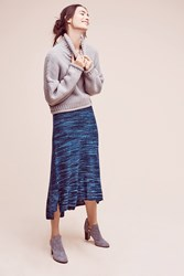 Anthropologie Knit Midi A Line Skirt Blue Motif