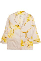 Carine Gilson Floral Print Silk Satin Pajama Top Yellow