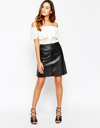Warehouse Faux Leather A Line Skirt Black
