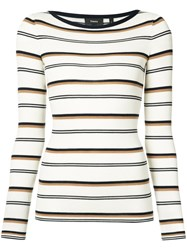 Theory Striped Fitted Sweater Women Wool S Nude Neutrals