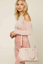 Forever 21 Faux Leather Double Zip Satchel Pink